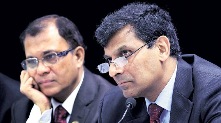 RBI Governor Raghuram Rajan with Deputy Governor H R Khan at a press conference at the central bank's headquarters in Mumbai on Tuesday. (Source: Ganesh Shirsekar)
