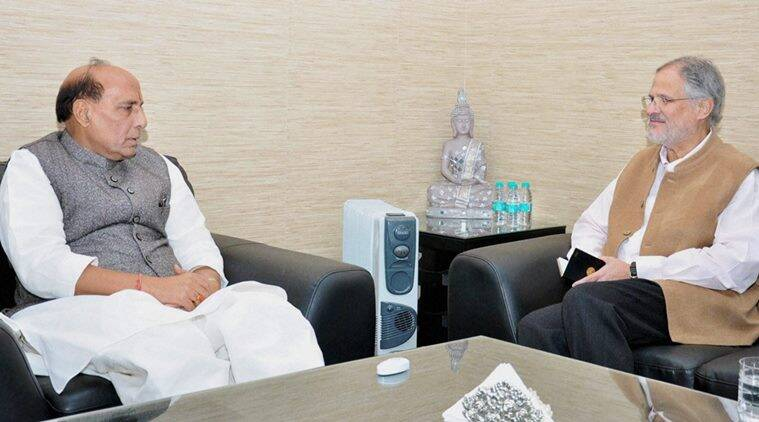 New Delhi: Union Home Minister Rajnath Singh with Lieutenant Governor of Delhi Najeeb Jung at a meeting in New Delhi on Wednesday. PTI Photo (PTI2_3_2016_000175B) *** Local Caption ***