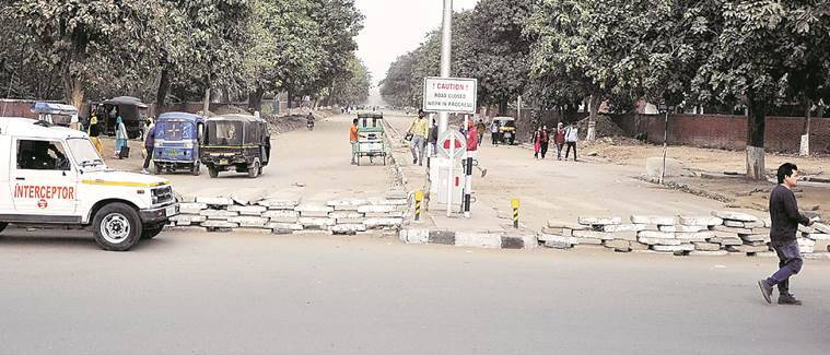 Road adjoining PGIMER that was closed for repairs world take a few more weeks to open with Carpeting yet to be done,  in Chandigarh. Express Photo by Sahil Walia