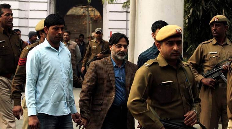 SAR Gilani being produced at patiala house court in new Delhi on Tuesday Express photo by Prem nath Pandey 16 feb 16