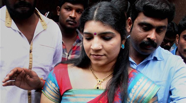 Coimbatore: Solar panel scam accused Saritha Nair arrives at a court in Coimbatore on Wednesday. PTI Photo (PTI2_3_2016_000044B)