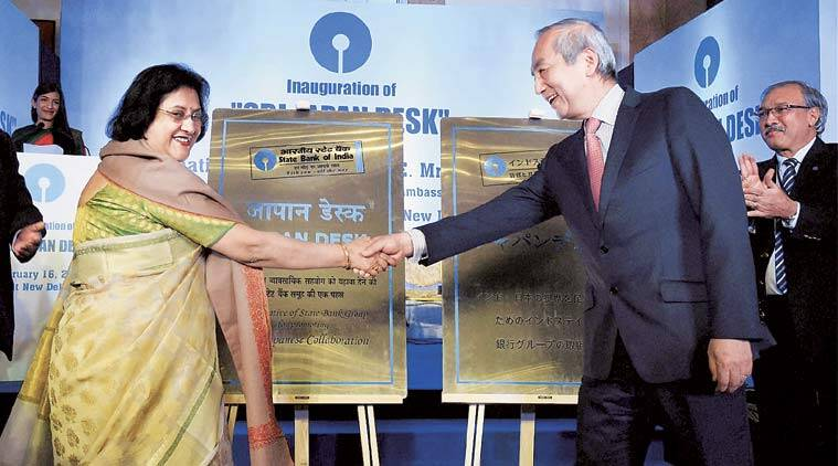 SBI Chairman Arundhati Bhattacharya with Ambassador of Japan to India Kenji Hiramatsu during the inauguration of SBI-Japan Desk in New Delhi on Tuesday.   (Source: PTI)