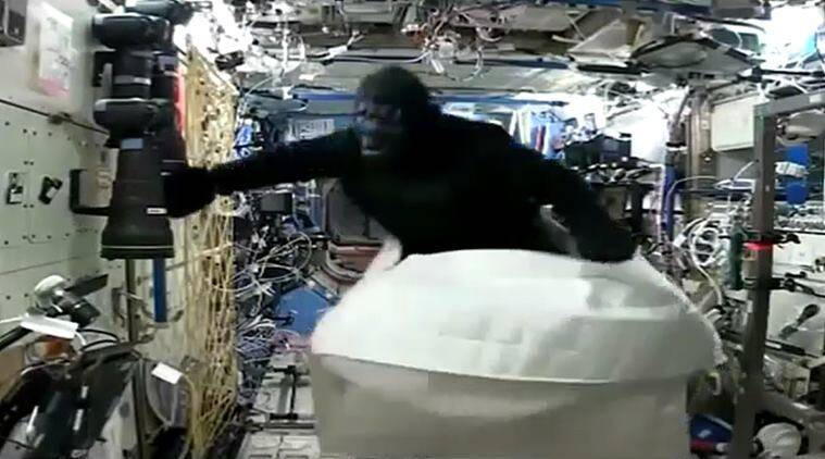Astronaut Scott Kelly, NASA, Commander Scott Kelly, International Space Station, ISS, prank, space mission, monkey suit