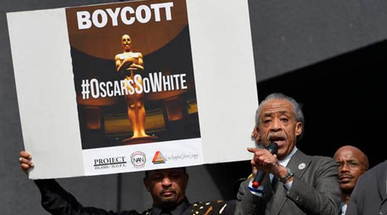 Rev. Al Sharpton, right, and activist Najee Ali lead a rally prior to the Academy Awards ceremony. (Source: AP)