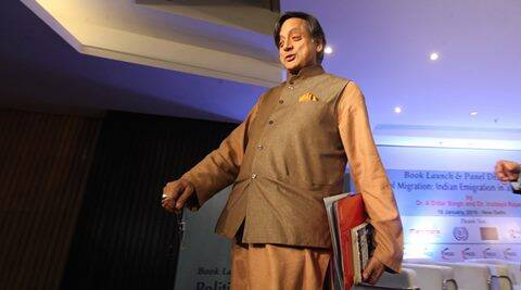 Congress mp Shashi Tharoor during the launch of book The political migration indian emigration in a globalized world in new delhi on monday.Express photo by Anil Sharma.18.01.2016