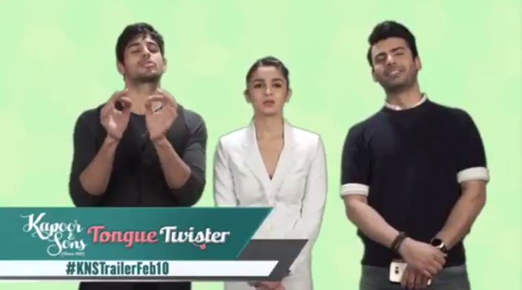 Kapoor & Sons, kapoor and Sons, kapoor & sons Tongue twister, Sidharth malhotra, Alia bhatt, Fawad Khan, Rishi Kapoor, Karan johar, Entertainment news