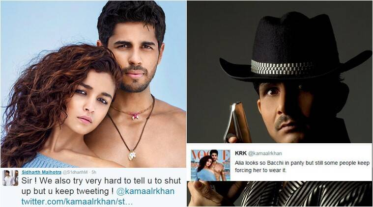 sidharth malhotra, kamaal r khan, sidharth malhotra krk fight, sidharth malhotra twitter, sidharth malhotra twitter feud, sidharth krk fight, sidharth mlahotra news, kamaal r khan news, entertainment news