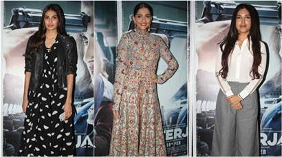 Athiya, Bhumi catch up with Sonam Kapoor at Neerja screening
