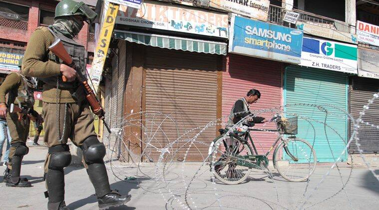 A complete shutdown is being observed across Kashmir today against the crackdown on the Jawaharlal Nehru University (JNU) students and former Delhi University Professor SAR Geelani .Express Photo 27-02-2016