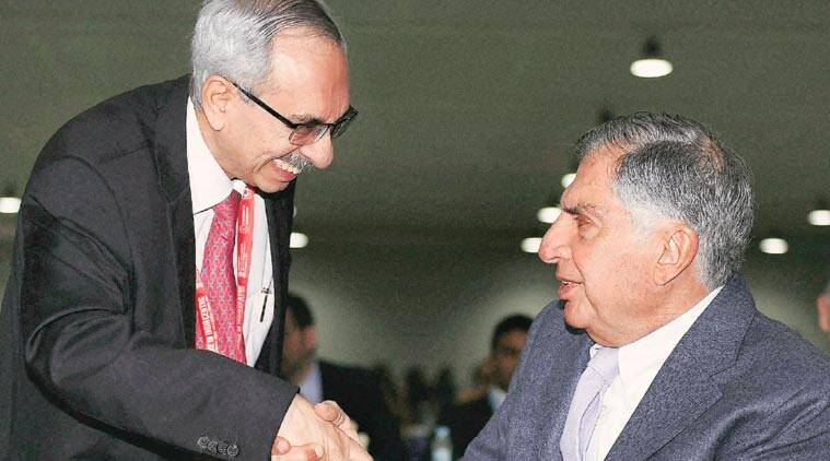 Nadir Godrej, MD and Chairman of Godrej Industries, with Ratan Tata, Chairman, Tata Trust, at the Maharashtra Investment Seminar during the Make In India week. (Source: PTI)