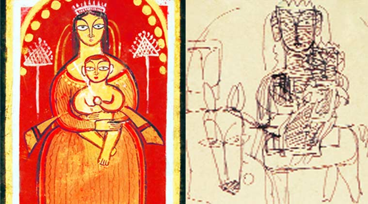 Jamini Roy's work titled Mary; one of his sketches on paper