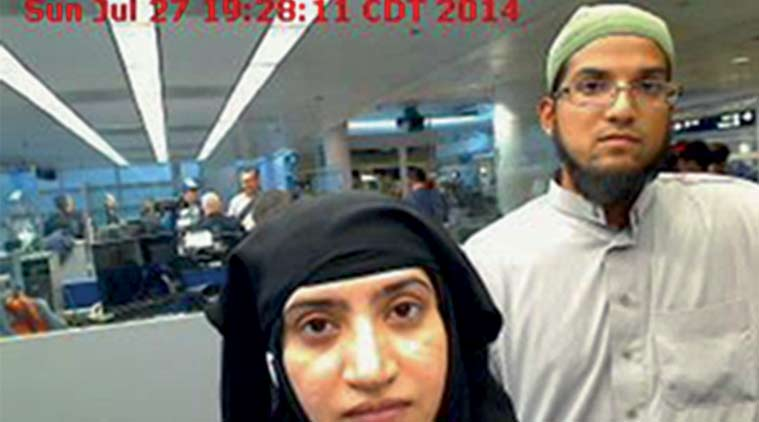 The San Bernardino killers, Tashfeen Malik (left), and Syed Rizwan Farook, as they pass through O'Hare International Airport in Chicago. (AP File Photo)