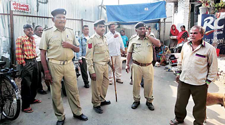 At Nehru Nagar society, adjoining the controversial Sanjaynagar redevelopment project, where the VMC withdrew its demolition drive Wednesday. (Express Photo)