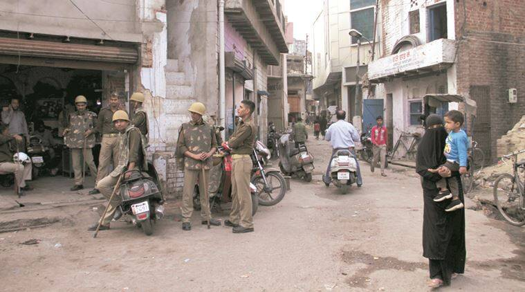 Heavy police force deployed in Agra after a VHP Leader shot dead. (Express Photo by Gajendra yadav)
