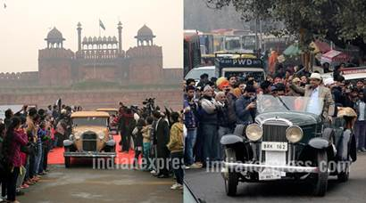 Tourism Minister Mahesh Sharma flags off 21 Gun Salute International Vintage Car Rally 2016