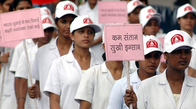 Students of Diffrent College making human chain in Lucknow on the occasion of World Population Day at Front of State Assembly on Saturday..Express/Mayank Saxena *** Local Caption *** The National Rural Health Mission (NRHM) in August 2007 to take steps to curb the birth rate which stood at 17 births per thousand people per year.