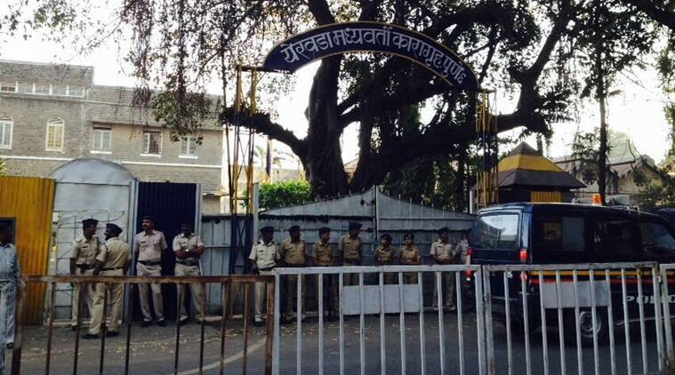 Heavy deployment of police outside Pune's Yerawada Jail. Express Photo/Sushant Kulkarni