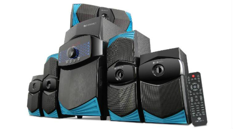 Zebronics ZEB-BT9551RUCF is a 5.1 channel speaker with additional 50watts RMS bass enhancement speaker