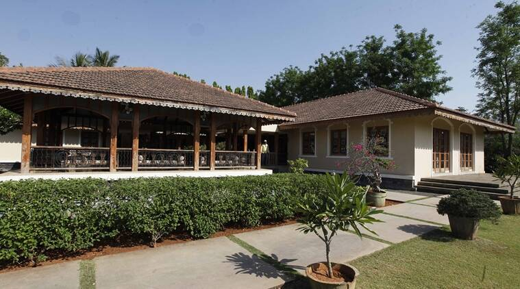 Inside Bhujbal Farm: The 5 acre premise houses several bungalows - with a recently added 'palace' and an office is on Agra Road, Nashik.Express Photo By Pavan Khengre,17.03.16,Nashik.