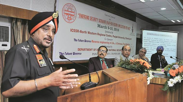 """Lt. Gen K J Singh addressed the gathering during the a seminar on """"Emerging Security Scenario in Af-Pak Region: Implications on India"""" at ICSSR in Panjab University Chandigarh on Wednesday, March 09 2016. Express Photo by Sahil Walia"""