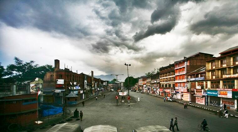 Deserted Lal Chowk in Srinagar. (Express Archive)