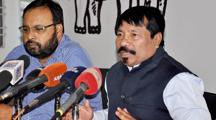 Guwahati : Atul Bora, President of Asom Gana Parishad (AGP) addressing a press conference, at AGP party head office in Guwahati on Sunday.PTI Photo (PTI3_6_2016_000139B)