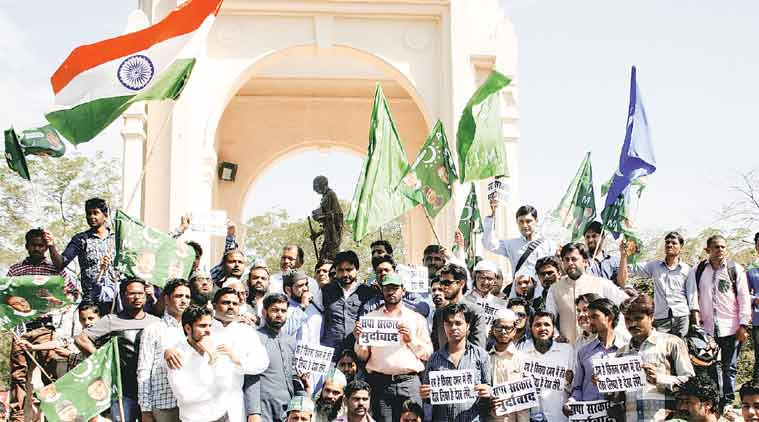 AIMIM supporters protest against ban on Owaisi visit in Lucknow. (Express Photo: Vishal Srivastav)