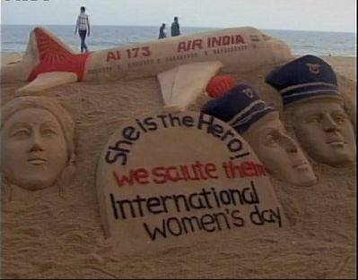 AIR Air India, International women's day, Air India all women flight, Sand art air india, Sudarsan pattnaik, Sand art women's day