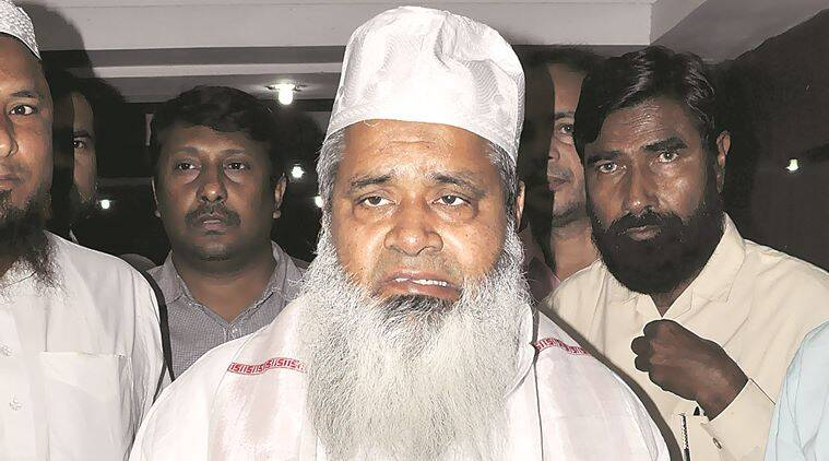 Baduruddin Ajmal Chief of All India United Democratic Front after addressing the media regarding the Assam state Assembly election 2016 in Guwahati Thursday 17th March 2016.Photo-DASARATH DEKA