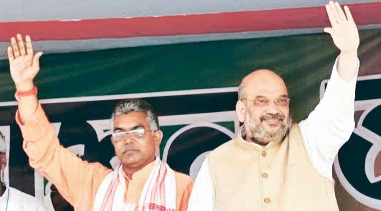 BJP president Amit Shah takes part in an election campaign in West Midnapore district of West Bengal on Tuesday. (Source: PTI)