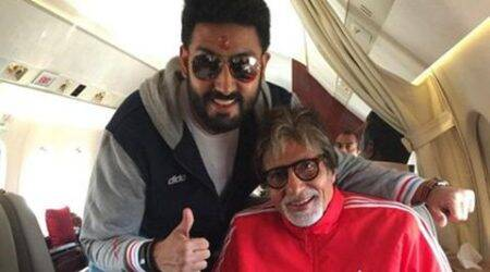 Amitabh Bachchan heads to Kolkata with son Abhishek for India-Pakistan match
