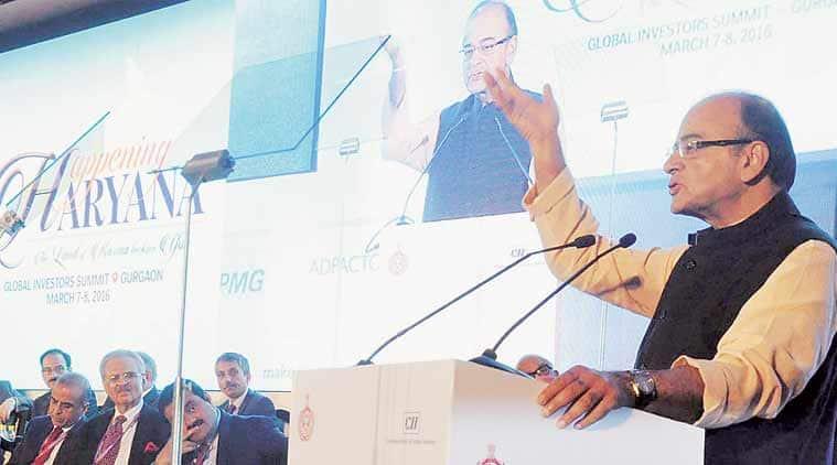 Finance Minister Arun Jaitley at Happening Haryana Global Investors Summit 2016 in Gurgaon on Monday.  (Express Photo: Manoj Kumar)