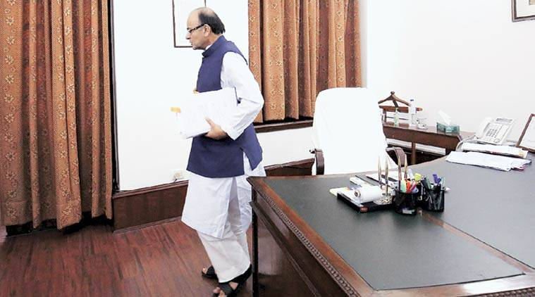 Jaitley in his office on Tuesday. (Express Photo: Renuka Puri)