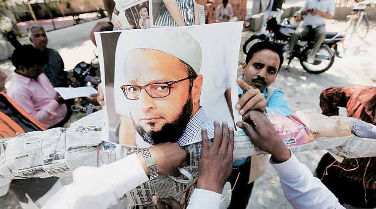 BJP's youth wing workers protest against AIMIM chief Asaduddin Owaisi, in Lucknow on Thursday. (Express Photo: Vishal Srivastav)