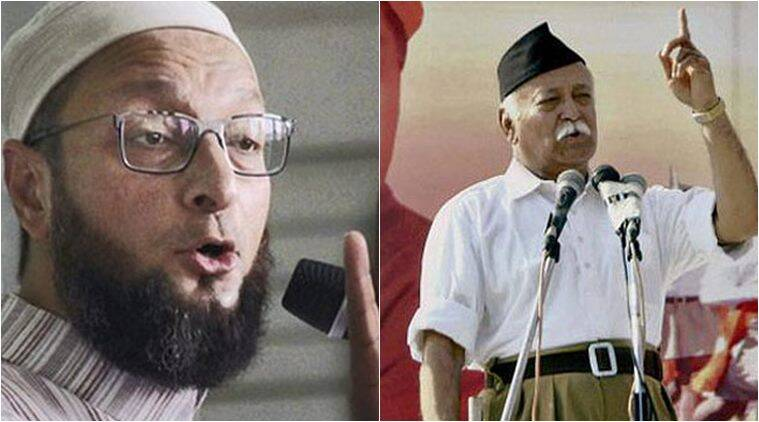 AIMIM Chief Asaduddin Owaisi (Left) and RSS Chief Mohan Bhagwat (Right)