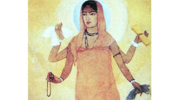 Abanindranath Tagore's Bharat Mata, the first visualisation of the Nation as the Mother. Bharat Mata took on a far more aggressive appearance in subsequent depictions.