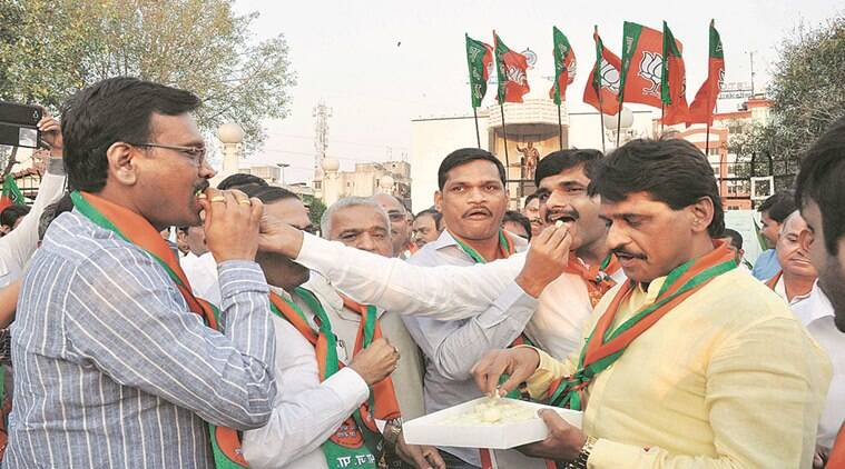 BJP celebrating in Pimpri-Chinchwad after the state government's announcement of regularise illegal constructions in Pimpri-Chinchwad.Photo By Rajesh Stephen