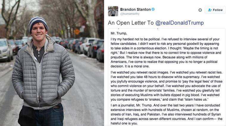 The hateful one is you: Brandon Stanton of Humans of New York pens ...