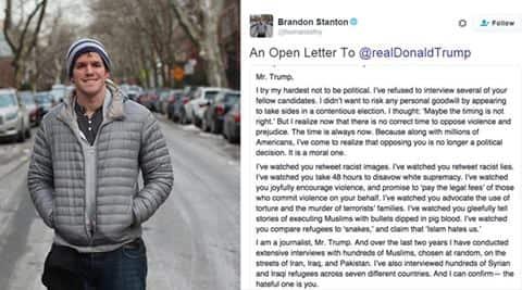 Donald Trump, Humans of New York, Brandon Stanton, Facebook, open letter, Twitter, trending, Islamophobia, racism, US presidential race