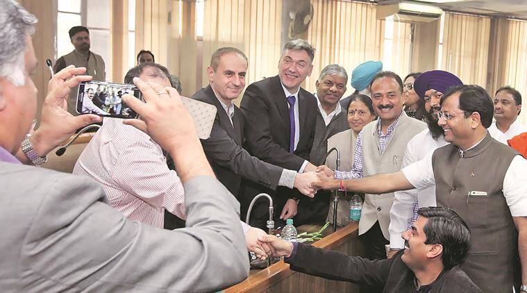 Petko Doykov, Bulgarian Ambassador to India with Peter Paunov, Mayor of city Kyustendil with other delegates for Bulgaria visiting MC office during paperless MC House Meeting on Monday in Chandigarh, February 29 2016. Express Photo by Kamleshwar Singh