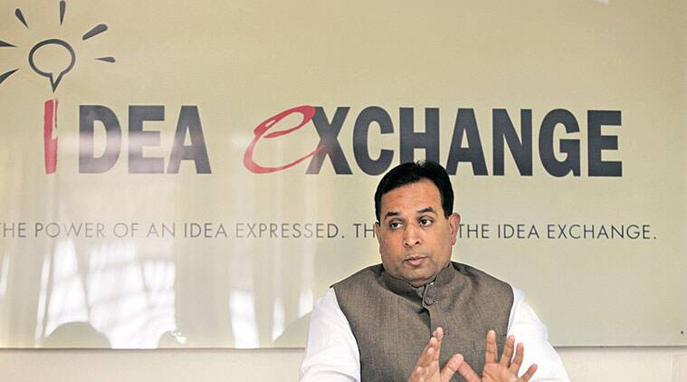 Haryana Finance Minister Captain Abhimanyu at The Indian Express office in Panchkula Friday. (Express Photo by Jaipal Singh)