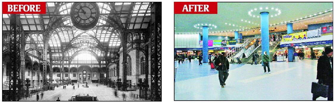 The original concourse of New York's Penn railway station (L), and the station as it is today.