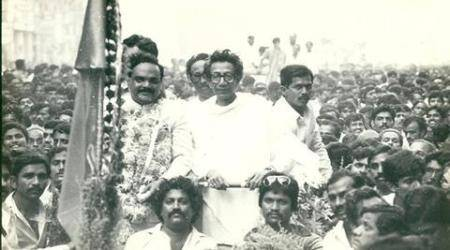 Political Leader Chhagan Bhujbal and Bal Thackarey. Express archive photo