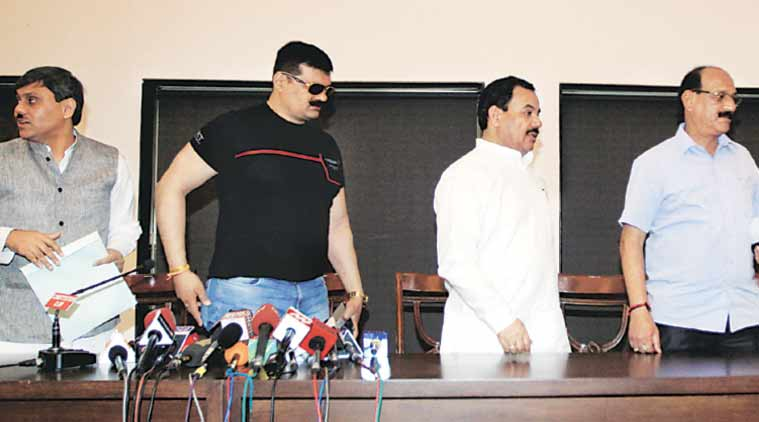 Rebel Cong MLAs Saket Bahuguna, Pranav Singh, Harak Singh Rawat, Subodh Uniyal in New Delhi Saturday. (Express Photo: Prem Nath Pandey)