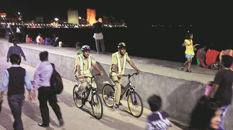 Cops on wheels, Cops on wheels in Mumbai, mumbai cops on bicycles, blue bicycles, mumbai patrol, mumbai news
