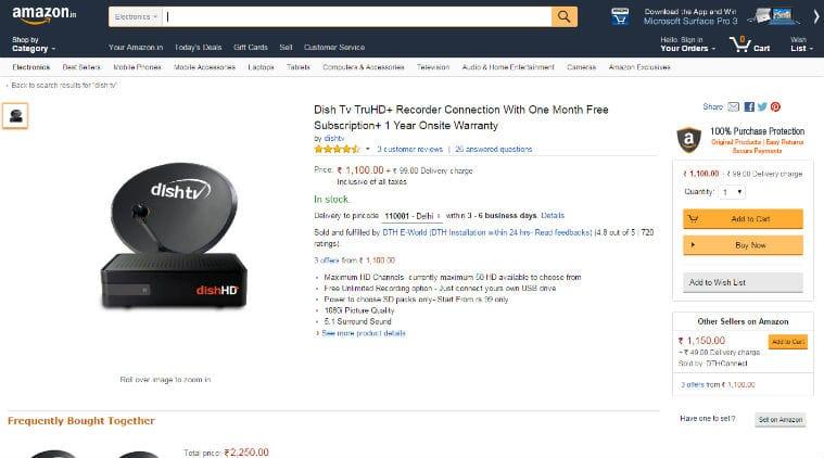 DishTV, Amazon, Amazon India, DishTV on Amazon, buy DishTv DTH, DTH Amazon, buy Dish online, technology, technology news