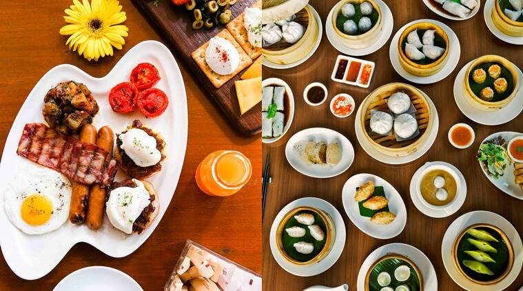 The Happy Easter Brunch at Woodside Inn, Andheri, Mumbai (L) and Dimsum spread at By The Mekong at The St.Regis, Mumbai.