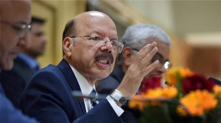 Chief Election Commissioner, Nasim Zaidi at a press conference, in New Delhi. File/PTI Photo