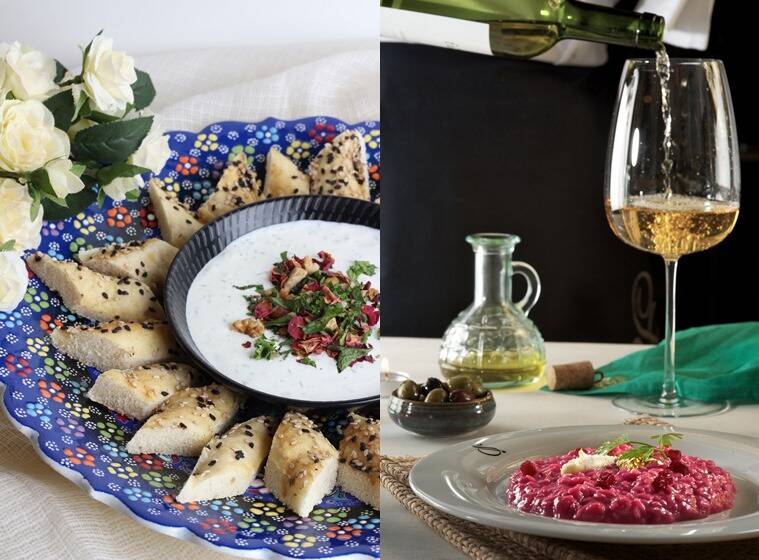 Abhijit Saha's masterclass at Foodhall in Bengaluru will include Mast o khiar with nan e barbari; and (right) Beetroot Risotto at the Claridges.