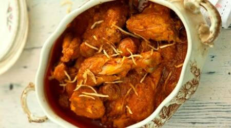 Try this traditional Parsi recipe of Jardaloo Murghi Ma Salli From Rustom's Parsi Bhonu